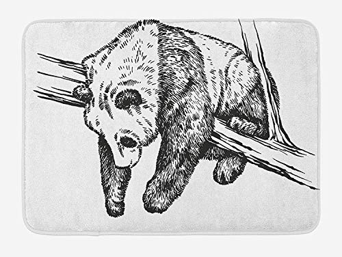 Animal Bath Mat, Ink Illustration of Cute Baby Panda Hanging on Tree Branch Monochrome Hand Drawing, Plush Bathroom Decor Mat with Non Slip Backing, 23.6 W X 15.7 W Inches, Black White -