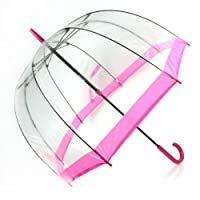 Fulton Pink Birdcage Transparent Dome Umbrella