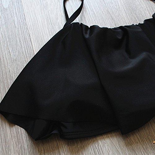FY Damen Mädchen Bademode Falbala Bikini Hohe Taille mit Falten Gepolsterte Große Größen Elegante Badeanzug Swimwear Beachwear Sommer Strand Urlaub Schwarz