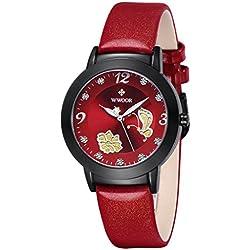 Damen Blume Schmetterling Armbanduhr Damen Kalbsleder Leder Kleid Casual weiblich Handgelenk Uhren rot