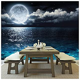 azutura Full Moon Wall Mural Night Ocean Seascape Photo Wallpaper Bedroom Home Decor available in 8 Sizes XXX-Large Digital