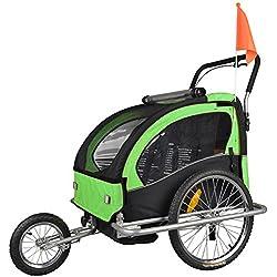 Tiggo Convertible Jogger Remorque à Vélo 2 en 1, pour enfants - JBT03A-D02 502-D02 Vert/Noir
