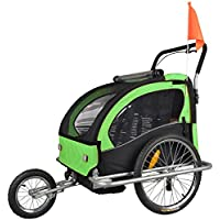 Remolque de bici para niños con kit de footing, limón verde/negro 502-