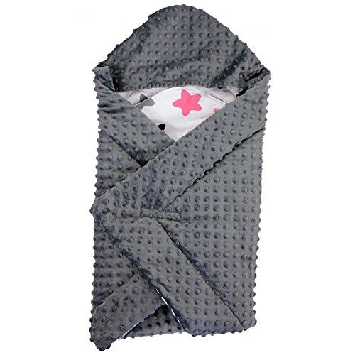 TupTam Baby Winter Einschlagdecke für Babyschale Wattiert, Farbe: Sterne Rosa / Schwarz, Größe: ca. 75 x 75 cm