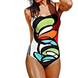 OVERDOSE Frauen Bademode Bikini Sets Print One Piece Push-Up Gepolsterte Bade Beachwear Badeanzug(Multicolor,S