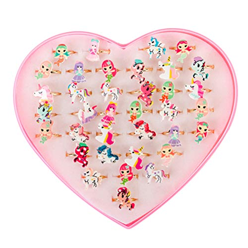 STOBOK Anillos de Regalo de Joyería de Sirena Unicornio con Caja para Fiesta de Cumpleaños de Niños Anillos de Dedo Princesa Niña Joyería con Caja (Patrón Aleatorio) 36 Piezas