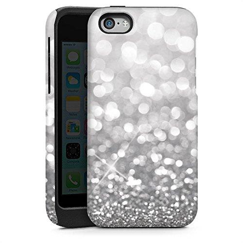 Apple iPhone 4 Housse Étui Silicone Coque Protection Argent Paillettes Bling-bling Cas Tough brillant