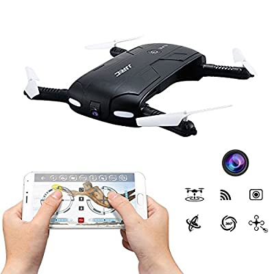 RC Mini Quadcopter Drone with Wifi FPV Camera LED Portable and Foldable Pocket Size with Altitude Hold Headless Mode - JJRC H37 Elfie Remote Control Helicopter - Seperate Batteries Available