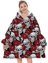 Sherpa Hoodie Sudadera Manta, Manta Extragrande con Estampado de Calavera Sherpa, cálida, cómoda, usable, con Capucha, para Adultos, Hombres, Mujeres, Adolescentes, Bolsillo Grande