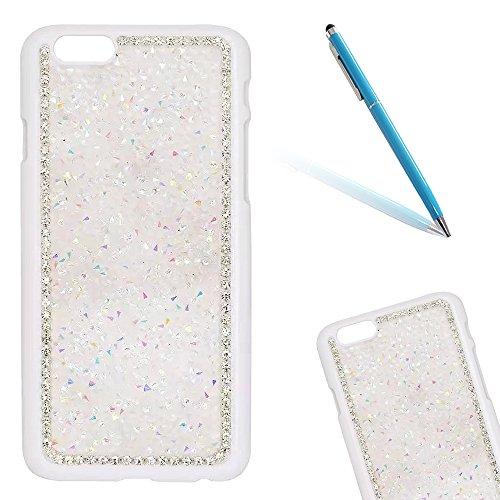 """iPhone 6s Hülle, iPhone 6 Kristall Motiv Handytasche, Bling Glitzer Diamant Series CLTPY 3D Kreativ Überzug Hartplastik Schutzfall für 4.7"""" Apple iPhone 6/6s + 1 x Stift - Silber Weiß"""
