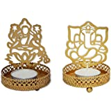 A S B Lakshmi Ji And Ganesh Ji Shadow Lamps Tealight Candle Holder Stand For Pooja And Decorative Aluminium Aluminium 2 - Cup Tealight Holder Set (Gold, Pack Of 2)