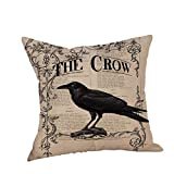 SEWORLD Happy Halloween Kissenbezüge Crow Leinen Sofa Kissenbezug Home Decor K