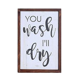 NIKKY HOME Holz Gerahmte Wand Kunst Poster drucken mit Zitat Sie waschen, ich werde trocknen, Weiß
