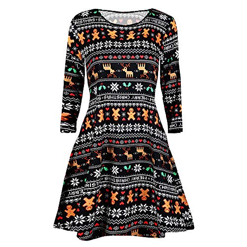 VEMOW Heißer Elegante Damen Abendkleid Vintage Weihnachten Santa Gedruckt Kostüm A-Line Lose Beiläufige Tägliche Party Schaukel Kleid(X10-Mehrfarbig 5, ()