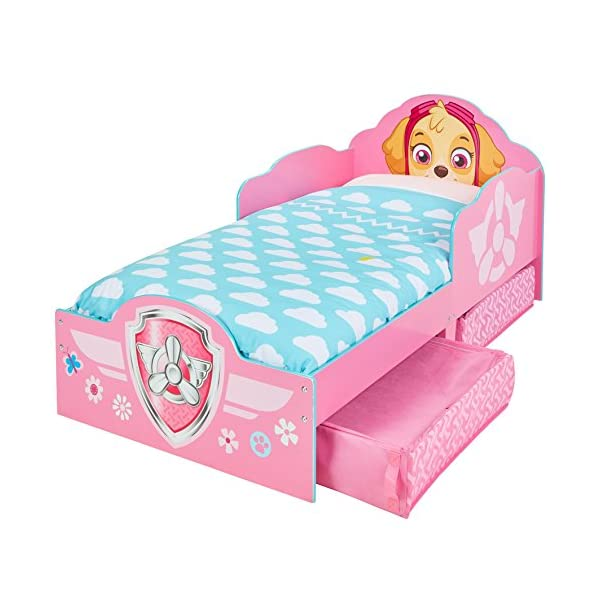Hello Home Paw Patrol Skye Kids Toddler Bed with underbed Storage, Wood, Pink, 142x77x68 cm  Perfect for transitioning your little one from cot to first big bed The perfect size for toddlers, low to the ground with protective side guards to keep your little one safe and snug Two handy underbed, fabric storage drawers 2