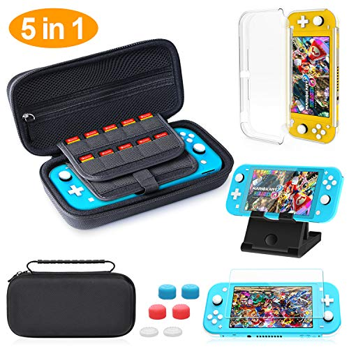 HeysTop Custodia per Nintendo Switch Lite, Nintendo Switch Lite Cover Trasparente, PlayStand Regolabile, Pellicole Protettive Switch Lite con 6 Thumb Grip, Accessori per Nintendo Switch Lite