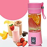 VDNSI Premium Quality USB Juicer Cup, Personal Size Rechargeable Juice Blender And Mixer, 380ml Fruit Mixing Machine With USB Charger, Upgraded 2 Blades For Superb Mixing { UPGRADE MODEL } [COLOR MAY VARY]