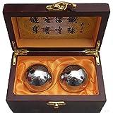 Colormax Baoding Bolas chinas Salud Ejercicio-Bolas de Estrés Acero Cromo Color/tradicional Beautiful Palm Messager -- Un Práctico Instrumento para cuidado de la salud (55mm)