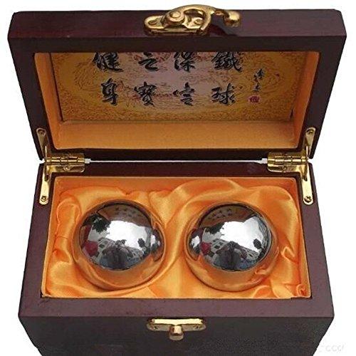 Esclusiva scatola di legno SIncek con sfere cinesi di Baoding da 46 mm, sfere antistress