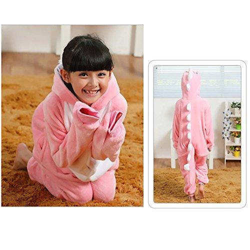 LSERVER-Jumpsuit Fasching Halloween Kostüm Sleepsuit Cosplay Fleece-Overall Pyjama Schlafanzug Unisex Rosa Dinosaurier