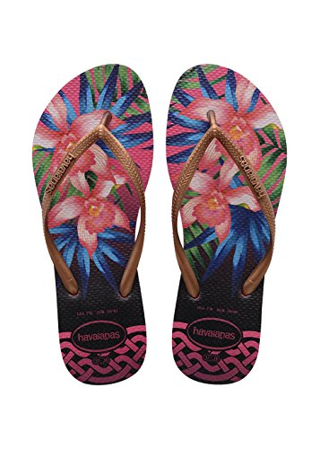 Havaianas Flip Flops Slim Tropical Zehentrener für Frauen Mehrfarbig (Rose 0046)