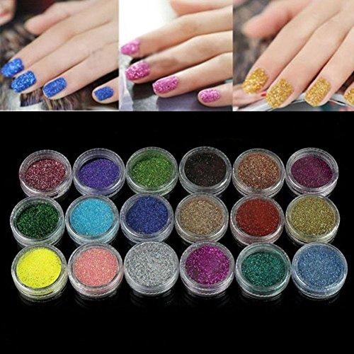 Kit de Manucure et Nail Art ultra complet - 18 Couleurs Ongle Art Acrylique Briller Poudre Pour UV GEL Poudre Décoration-Yogogo