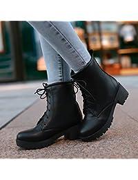 &ZHOU Botas otoño y del invierno botas cortas mujeres adultas 'Martin botas botas Knight a8 , black , 43
