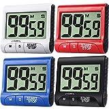 Lot de 4 minuteurs de cuisine numériques avec grand écran magnétique, compte à rebours électronique avec alarme puissante pour la cuisine, les exercices de cuisson, noir, blanc, rouge, bleu