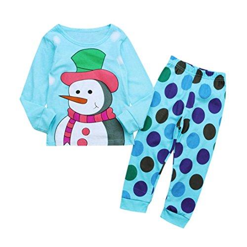 JERFER Weihnachten Zweiteiliger Schlafanzug Weihnachten Kinder Kleinkind Baby Mädchen Jungen Schneemann Tops Dot Hosen Outfit Set Kleidung 2-7 T/Jahre Alt (Blau, 5T)