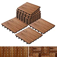 casa pura Interlocking Acacia Wooden, Garden & Patio Decking Tiles - 55 Tiles, 30x30cm (5m²)   Multiple Tile Sets Available, Arden