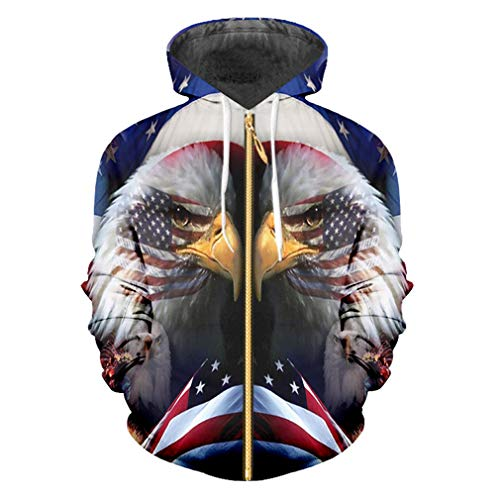 Die Kleidung der coolen Hoodie-Männer der Frauen, die Eagle-Kapuzenpullis der American Eagle-Kapuzenpullis 3D Hip Hop mit Kapuze Hoodie drucken American Flag Eagle 5XL -