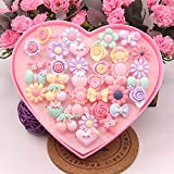#4: KRAFTMASTERS 24pcs Young Girls Rings Set Clip-on Jewelry Birthday Gift with Box for Kids Birthday Party Favors