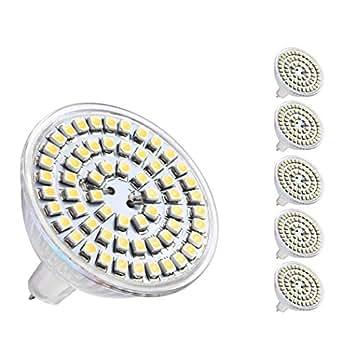 pepnice, 3W d'économie d'énergie Lampe LED, Remplacement pour ampoules halogènes 30W, AC/DC12V, 180–220LM blanc froid 6000K, angle, MR16SMD 283512°, poires, Spot à LED, ampoule LED LED, Lot de 5