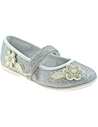 Lelli Kelly LK5706 (LH01) Glitter Argento Gaia Flower Dolly Shoes -24 (UK d5861c89884