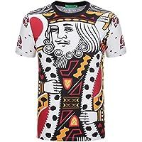 GZZ Camiseta de Manga Corta Delgada 3D Poker para Hombre de Verano/Talla Grande Camiseta de Manga Corta 3D Creativa para Hombre/Slim Fit Slim Fit,Color,XL