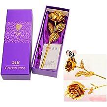 Cisixin Rose Fleurs Artificielle en Feuille d'or, Rose Fleurs avec Tige longue, Cadeau Idéal pour la Saint-Valentin, Fête des Mères, Anniversaire