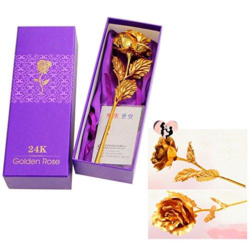 Cisixin 24K Vergoldet Rose Blume mit Geschenk-Box für Valentinstag Weihnachten Geburtstag etc. (Geschenk-boxen Weihnachten)
