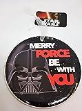 Merry Force Be with You Christmas Ornament–Decorazione per l' albero di Natale/ceramica/saga di fantascienza/Dark Side/forma rotonda/Funny moderno di/nero bianco rosso/novità/regalino