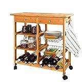 SoBuy® Servierwagen, Küchenwagen, Rollwagen m. Schublade aus hochwertigem Bambus FKW06-N BHT: 72x75x37cm