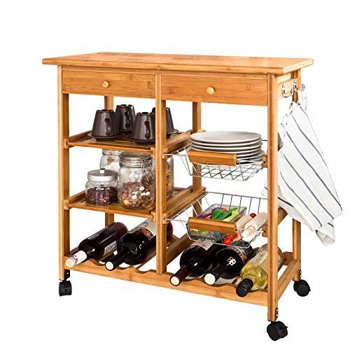 SoBuy Servierwagen, Küchenwagen, Rollwagen m. Schublade aus hochwertigem Bambus FKW06-N BHT: 72x75x37cm