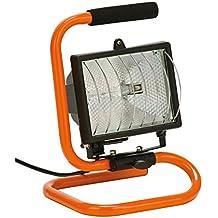 Foco halogeno Reflector 400 W, naranja/negro , Lámpara Camping, Reflector para Trabajo Exterior, Lámpara Proyector, Luz Portátil para Trabajo de Noche, Iluminacion Exterior del Jardín al Aire Libre, Patio, Terraza, Pescado, Camping