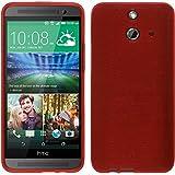 PhoneNatic Case für HTC One E8 Hülle Silikon rot brushed + 2 Schutzfolien