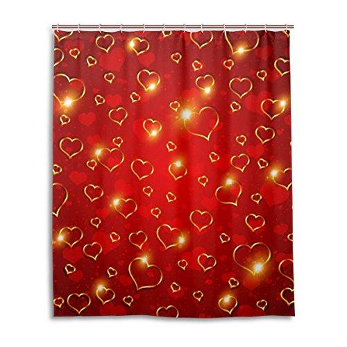 Rote Paisley Patchwork (Bad Vorhang für die Dusche 152,4x 182,9cm, Valentinstag Bling Licht Glden rot Herzen, Polyester-Schimmelfest-Badezimmer Vorhang)