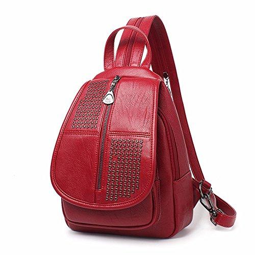 mini - leder, nieten schoolbag rucksack.,gray rotwein