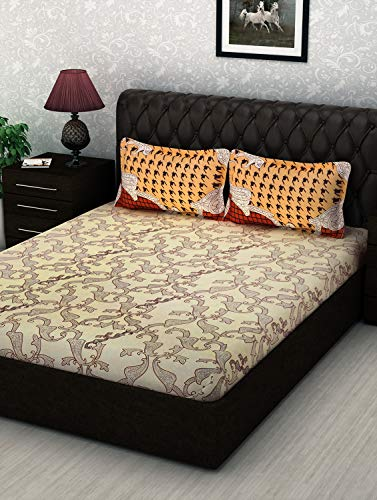 Story@ Home Cream 100% Cotton 1 Double Bedsheet with 2 Pillow Cover White Brown