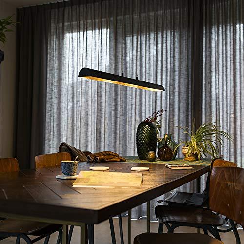 QAZQA Modern Esstisch/Esszimmer/Pendelleuchte/Pendellampe/Hängelampe/Lampe/Leuchte schwarz mit Gold/Messingener Innenseite inkl. LED - Balo 4-flammig/Innenbeleuchtung/Wohnzimmerlampe