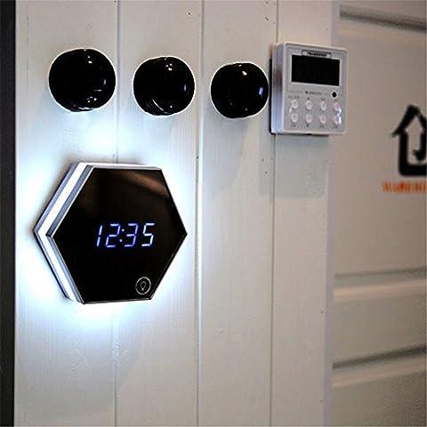 Réveil numérique rechargeable, lampe de nuit avec multifonction miroir numérique alimenté lampe de table led réveil de voyage