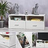 Melko Fernsehtisch Fernsehschrank Sideboard TV-Board, Weiß, 95 x 35 cm