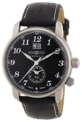 Reloj de caballero Zeppelin LZ 127 Graf Zeppelin Dual Time 7644-2 de cuarzo, correa de piel color negro de Zeppelin