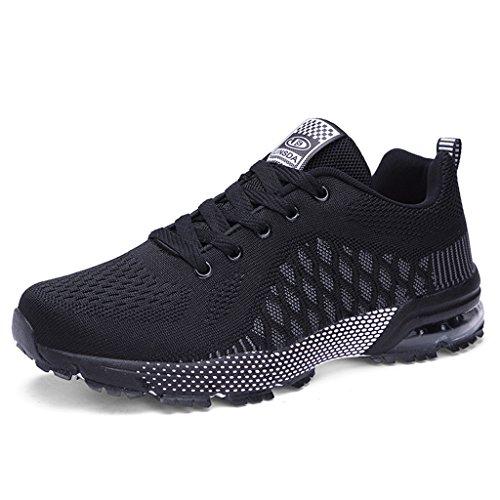 Damen Herren Sportschuhe Ultra Leichte Laufschuhe Rutschfeste Sneakers Mädchen Junge Schuhe mit Dämpfung Sommerschuhe Farbe:-Schwarzgrau Gr:-40 EU